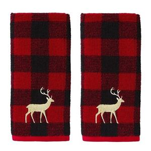 Buffalo Check Plaid Reindeer Christmas Gold Embroidered Hand Towels Set of 2