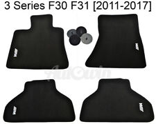 Floor Mats For BMW 3 Series F30 F31 Black With White /// M Emblem and Clips NEW