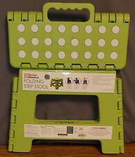 Home Basics Green Small Plastic Folding Step Stool with Non-Slip Dots