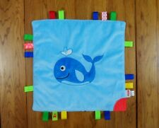 NUBY BLUE WHALE BABY COMFORTER WITH TAGGIES & TEETHER