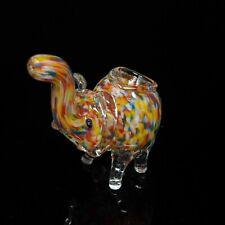 Handmade Confetti Mini Elephant Smoking Bowl Glass Pipe 3 inch - USA Seller