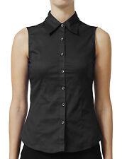 NE PEOPLE Womens Tailored Sleeveless Full Button Down Collared Shirt-NEWT15