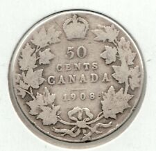 1908 Canadian 50 Cent Piece - Very Good + condition  - 92.5 sterling silver
