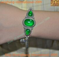 Old Chinese palace dynasty silver inlay Green Jade Gem amulet bracelet Hand ring