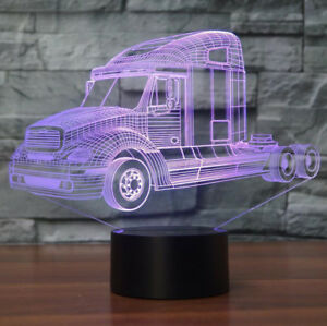 Truck Car 7-Color Desk Home Gifts Acrylic Visual Touch Lamp 3D LED Night Light