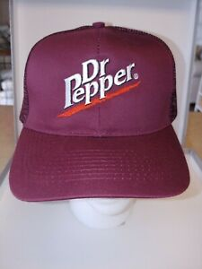 1990s Vintage Dr Pepper Cap - Adjustable SnapBack Burgundy Mesh Hat NOS