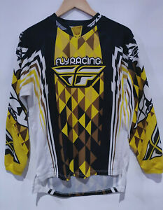 Fly Racing Kinetic Mesh Jersey - Men's Small - Brown & Gold Diamond Pattern