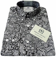 Relco Paisley Shirt Platinum Collection Long Sleeve Mod Retro Vintage Black Mens