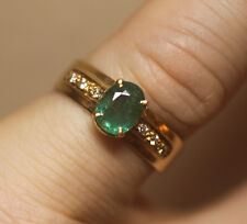 18k Yellow Gold Emerald and Diamond Ring, Size O (US:7)
