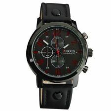 Men's Fashion Leather Stainless Steel Sport Analog Quartz Wrist Watch Waterproof