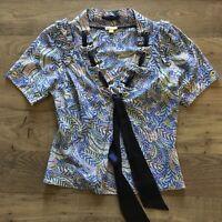 LEIFSDOTTIR Anthropologie Multicolor Print Tie Front Blouse Top Women's Size 2