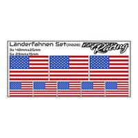 8x Set Länderflaggen Aufkleber USA Fahne Fahrrad RC Car Auto Sticker Folie