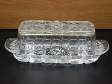 Vintage Anchor Hocking Cut Clear Glass Butter Dish and Lid