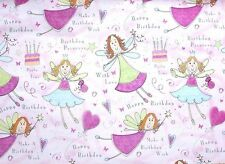 2 Quality Birthday Gift Wrap Wrapping Paper Pink Hearts Fairies Cake Butterflies
