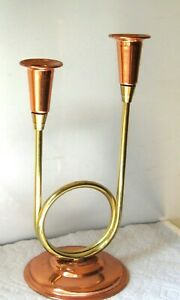 Vintage Coppercraft Guild copper and brass double taper candleholder