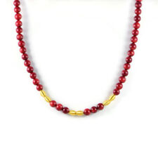 Semi-Precious 8mm Gemstone Red Coral Beads 18 inch Handmade Women's Necklace