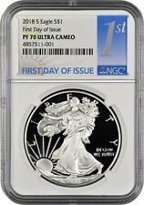 2018 S Silver Eagle FIRST DAY OF ISSUE NGC PF70 Ultra Cameo (1st Day Label)