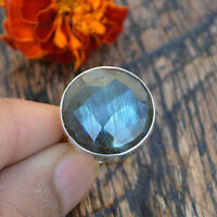 Birthstone Faceted Labradorite Gemstone 925 Sterling Silver Handmade Ring Size 7