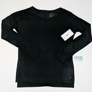 Nike Yoga Dri-Fit Shirt Women's Long Sleeve Running Training Black CJ9324-010
