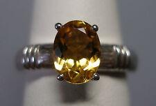 NUOVO, Argento Sterling Originale Citrino da donna solitario anello