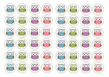 48 icing edible cake toppers approx 3cm Polka Dot cute owls owl pink green blue
