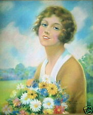 Beautiful Woman Holding a Bunch of Daisies!! Very NICE