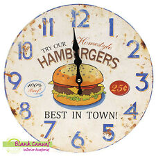Vintage Retro Shabby Chic Hamburger Kitchen Wall Clock - BNIB
