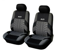 Embroidered Tread Car Driver + Passenger Seat Covers Black Gray Slipcover 1Pair