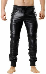Pant Leather Jeans Style Pants Mens Real Trouser Motorcycle Waist Thick Black 9