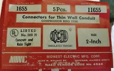 """1655 MIDWEST 2"""" EMT COMPRESSION CONNECTORS WITH INSULATED THROAT. BOX OF 10"""