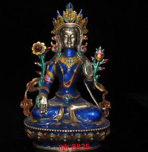 Tibet Tibetan Buddhism China Collection Pure copper Festoon white Tara statue
