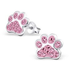 Sterling Silver 925 Dog / Cat Paw Crystal Stud Earrings - Pink