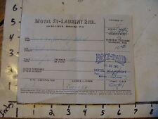 Vintage travel memorabilia: QUEBEC: 1961 receipt Motel St-Laurent Enr.