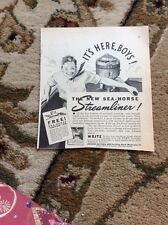 Q1-a-a Ephemera 1940 Advert The Sea Horse Streamliner Outboard Johnson Motors