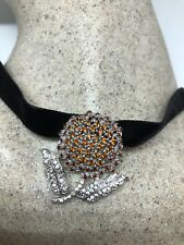 Vintage Deco Golden Sterling Silver Genuine Garnet Citrine Necklace Choker