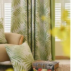Tropical Palam/Fern Leaf Green Curtains for Living Room Bedroom Window