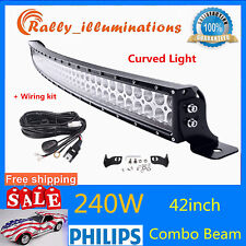 42inch 240W Curved LED Combo Work Light Bar SUV Driving Fog Lamp + Free Wiring
