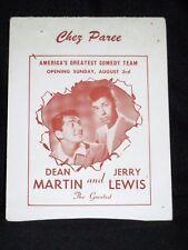 Rare Dean Martin/Jerry Lewis Autograph to Elaine Chez Paree Chicago 1956 Vintage
