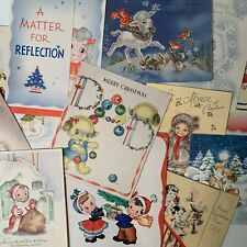 Vintage Lot Of 12 Child-Themed Christmas Greeting Cards Decorating Scrapbook J