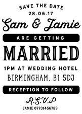 Personalised Laser Rubber Stamp - Vintage Wedding Invite