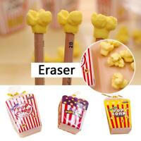 Eraser Pencil For School  Rubber Correction Food Popcorn Creative Stationery