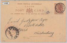 51888 - LAGOS -  POSTAL HISTORY - POSTAL STATIONERY CARD to GERMANY 1891