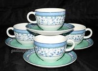 Mikasa Susanne * 4 SETS CUPS & SAUCERS * Blue & Green, Excellent!