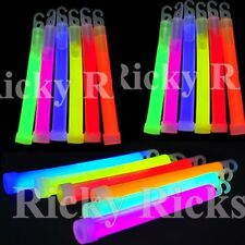 "50 Thick 6"" Glow Sticks Fat Party Necklaces Light Assorted Lanyard Favors Neon"