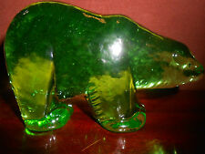Green Vaseline glass Polar Bear paperweight uranium yellow figurine animal artic