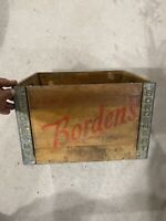 Vintage Borden's Milk Crate Wood metal advertising dairy farm