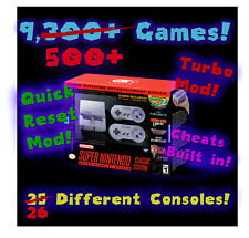SNES Classic Console Modded with 9,500+ games and 26 consoles Turbo/Quick Reset!