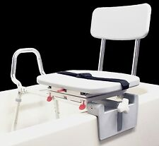 Sliding Shower Chair Tub-Mount Bath Transfer Bench with Swivel Seat 77762 NEW