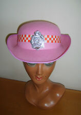 PINK POLICE LADY WOMAN HAT WITH CHECK BAND WPC FANCY DRESS COSTUME USED