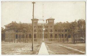 1912 Norfolk, Virginia - REAL PHOTO Military Marine Barracks - Vintage Postcard